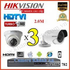 Lắp đặt trọn gói 3 camera HIKVISION 2.0M 1080P
