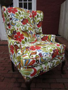 Accent Chair - Red Red Vine - via Urbanmotifs Etsy by angie Red Accent Chair, Accent Chairs, Breakfast Bar Chairs, Chair Leg Floor Protectors, Toddler Table And Chairs, Cheap Chairs, White Dining Chairs, Chair And Ottoman, Wingback Chairs
