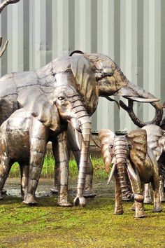 """Recycled Metal Elephant Sculptures - by Moses and his crew of metal artists at Kabiria Metal Works in Kenya, via Trovati Studio;  3 sizes:  26"""", 41"""", or 55"""" high"""