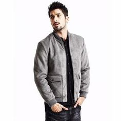 Casual Bomber Jacket-Grey