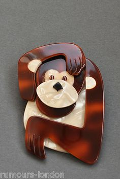 Lea Stein Monkey Brooch-- I love this pin!
