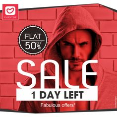 Hurry up!! Offers coming to an end tomorrow midnight. Only 1 day left. Shop now only at www.valentineclothes.com #offers #onedayleft #sale #flat50 #valentine #valentineclothes #madewithlove