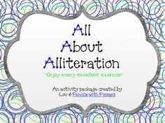 Lou This alliteration freebie is a fun packet of activities and book suggestions for teaching your kiddos about using alliteration. I hope you enjo… 2nd Grade Ela, 3rd Grade Writing, 2nd Grade Reading, Grade 2, Guided Reading, Second Grade, Teaching Language Arts, Classroom Language, Teaching Writing