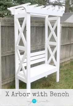 X Arbor with Bench Here's the perfect accent for your garden or backyard escape. Not only is this X Arbor Bench beautiful, it's sturdy to sit and relax. It can be painted or stained to fit your preference and looks great with potted plants on the sides. Metal Pergola, Diy Pergola, Pergola Kits, Pergola Ideas, Cheap Pergola, Patio Ideas, Yard Ideas, Backyard Projects, Outdoor Projects