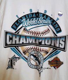 9b94e20e406 Vintage Rare1997 Florida Marlins MLB World Series Champions T-Shirt Men s  Size L  Delta