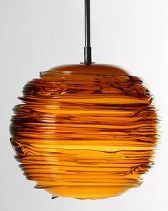 Handmade blown glass pendant lamp SPUN by SkLO | #design Karen Gilbert, Paul Pavlak @sklostudio