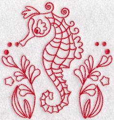 Seahorses Redwork 6 single machine embroidery design for instant download.