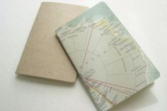 Small Notebook-Set of Two-Upcycled Atlas-Recycled Paper-Kraft by younghearts on hellopretty.co.za