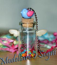 Kobato 's Jar Necklace  little bottle with sugar stars by girasole, $14.00