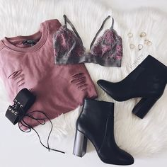 Key Pieces  || Sweatshirt & Booties @forever21 #f21xme || Bralet @wetseal #wetseal || Choker & Rings c/o @agaci_store #agacigirl via @luxelatte
