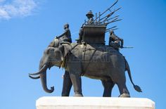 war elephant: Anusorn Don Chedi Monuments, a tourist attractions in Supanburi, Thailand, built in memorial of King Naresuan Elephant Images, Elephant Pictures, Elephant Design, War Elephant, Army History, Southeast Asia, Royalty Free Images, Thailand, Sculptures