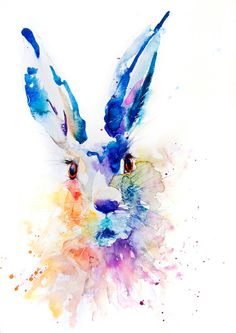 Contemporary limited edition print of  original watercolour painting HARE Printed using epson Chroma K3 pigments on archival  paper.(h1)