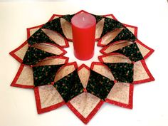 Christmas themed centerpiece, Fold and stitch wreath, Holiday wall hanging, Red…
