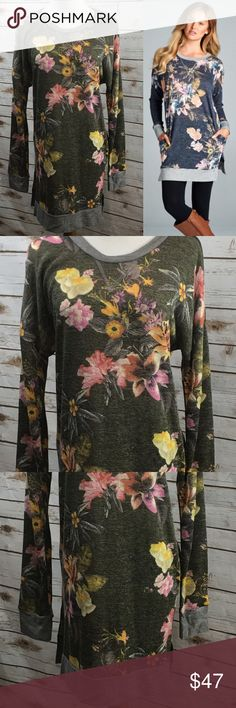 """Olive green Tunic Top 2 pockets Side Slits 🔥HOT❗Florals and the color Olive are HUGE this year & this top is a winner. Small fits 4-6,  Medium fits sizes 8-10, Large fits 12-14, XL fits Size 16. Bust on Size MEDIUM is 48 inches and 33"""" inches long. This will be one of your favorite tops! Cute side slits at the bottom& hidden pockets. What more could a girl ask for 💕💕 Comfort and style! Grab yours 🎉 95% Polyester 5% Spandex. Tops Tunics"""