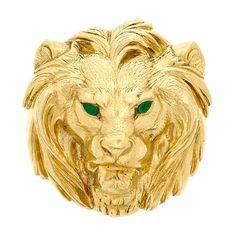 CARTIER   Gold and Emerald Lion Head Pendant-Brooch, Cartier