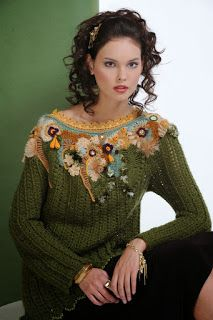 Irish lace, crochet, crochet patterns, clothing and decorations for the house, crocheted. Crochet Jumper, Crochet Collar, Crochet Cardigan, Crochet Scarves, Crochet Clothes, Irish Crochet Patterns, Crochet Designs, Crochet Stitches, Freeform Crochet