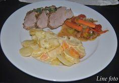 Storemyras matblogg: Nøttepanert indrefilet av svin med fløtegratinerte poteter og sauterte grønnsaker