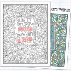 Swear Word Coloring Book Page Funny Adult Colouring Whiny Bitch Mature Humor