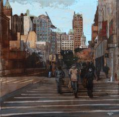 "Patrick Pietropoli, New York Street I, 2014, Oil on Linen, 20"" x 20"" #art #axelle #painting #nyc #streetscape #urban"