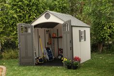 Push Mower Storage Outdoor Lawn Mower Storage Lawn Tractor Shed A lawn mower blade sharpener cuts blades clean. Living In A Shed, Outdoor Bike Storage, Storage Shed Organization, Storage Ideas, Shed To Tiny House, Build Your Own Shed, Small Sheds, Big Sheds, Shed Kits