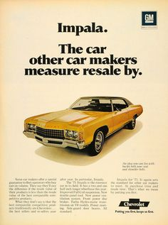 1971 Ad Yellow Chevrolet Impala Turbo Hydra-matic V8 - ORIGINAL CARS7