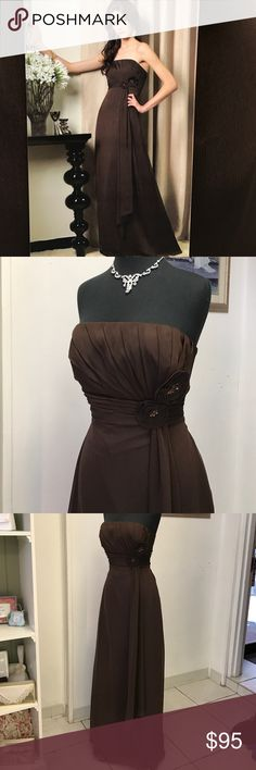 Chocolate 🍫 Brown Gown Floral embellishment on the side, Chiffon piece hanging, back center zipper pleated waistband Dresses Strapless