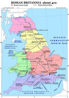 Celtic Tribes in Britain. Roman Britain about the year 410 CE, showing the Brythonic tribes in red. Uk History, Roman History, European History, British History, American History, Map Of Britain, Roman Britain, Ancient Rome, Ancient History