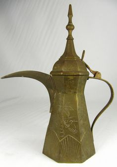 Vintage Brass Coffee Pot from Saudi Arabia Arabic Coffee, Copper Pots, Teapots And Cups, Chocolate Pots, Saudi Arabia, Ottomans, Household Items, Middle East, Handicraft