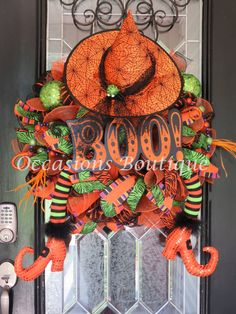 Halloween Wreath, Witch Wreath, Halloween Decoration, Halloween Party, Wreath for Door, Fall Wreaths, Front door wreath, Large Wreath by OccasionsBoutique on Etsy