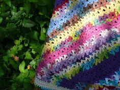 Bright Stripes Crochet Lap Blanket by OneCreativeFamily on Etsy
