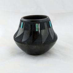 San Ildefonso blackware pot with turquoise, Lupita Martinez by tlgvintageart on Etsy