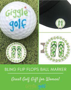 5c9799058 Green Flip Flops bling golf ball marker with hat clip. Great golf gift for  women