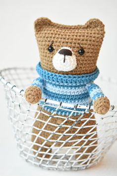 LAZYBONES BEAR - amigurumi pattern by lilleliis. I call this a one evening teddy bear. The body works up in one piece starting with the legs and ending with the ears. With his worried face and cute striped sweater Lazybones bear probably melts anyones heart.