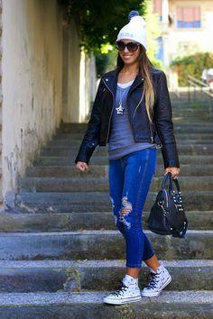 ripped denim - customized converse - customized beanie - leather jacket - balenciaga bag