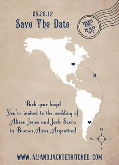 Destination Wedding Save the Date | http://bestromanticweddings.blogspot.com