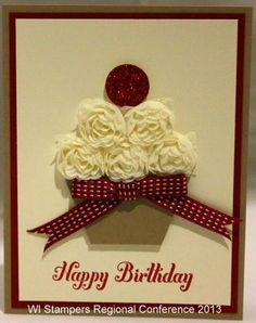Cupcake card with flower ribbon - bjl