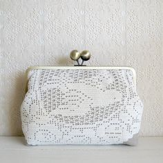 Large clutch with vintage doilies and linen fabric