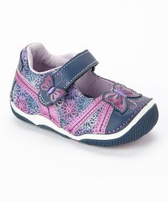 Oh My GoodNESS! I am dying over this right now - dreaming of my baby girl walking! :-))  Navy & Purple Sheena Leather Mary Jane by Stride Rite on #zulily! #zulilyfinds