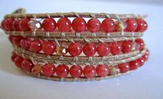 Ruby Jade with Sparkle Accent Beaded Leather Wrap by KnotsAndWraps