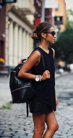 street style leather skirt black tank top