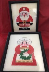 Santa Mrs Claus Cross Stitch Finished Christmas Framed Two Wall Hanging