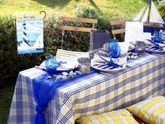 beach themed party garden table setting nautical blue glasses