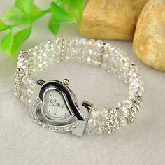 Sparkling Alloy Rhinestone Watch Bracelet, with Glass Beads and Alloy Rhinestone Spacer Bars.