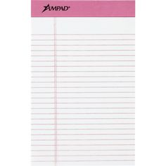 """Writing Pad,Jr., Med. Ruled,50 Sht,6/PK,5""""x8"""",WE/BCA PK. Perforated pad with distinctive pink binding and ruling. features heavyweight, 60 point, chipboard backing. Sheets are microperforated for clean, easy removal. Each writing pad contains 50 ruled sheets of high-quality 20 lb. white paper Sold as 6/Pack. Clean Sheets, Notebook Paper, Pink Accents, Writing Instruments, Staying Organized, 6 Packs, Letters And Numbers, Breast Cancer Awareness"""