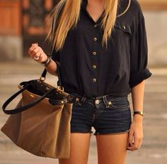 Cute summer outfit, jean shorts, black top, spring