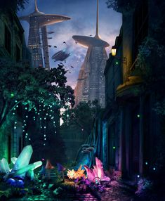 Alive For Art Inspiration | Artist interview w/ pics! Richard Dorran is a fantasy illustrator and concept artist...Crystals Growing On An Old Street In A Futuristic Sci-Fi City