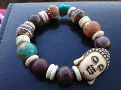 Bone Carved buddha head bracelet by UnikHandCreations on Etsy, $35.00