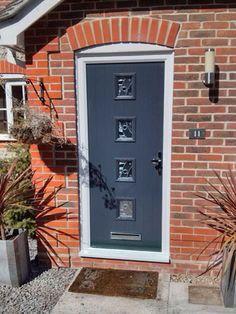 4 Square Glazed Composite Front Door in Black   Home Improvement ...