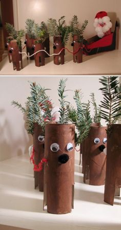 Crafts and DIY Community: Toilet Paper Roll Christmas Crafts Christmas Activities, Christmas Crafts For Kids, Christmas Projects, All Things Christmas, Holiday Crafts, Holiday Fun, Christmas Decorations, Noel Christmas, Winter Christmas