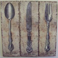 Vintage Kitchen Silverware Canvas Wall Art Spoon Knife Fork $53.99 #bestseller